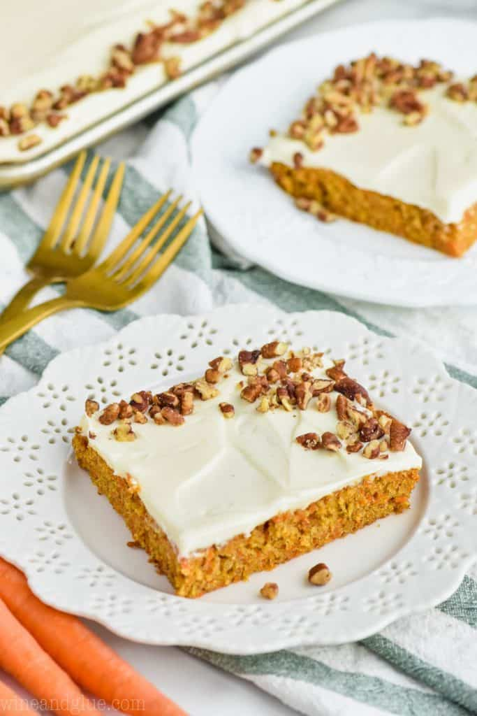 two pieces of homemade carrot cake sheet cake recipe on plates