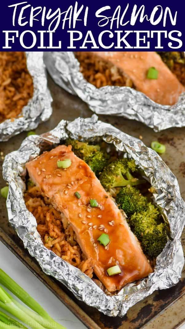 teriyaki salmon foil packets with salmon, broccoli, and rice