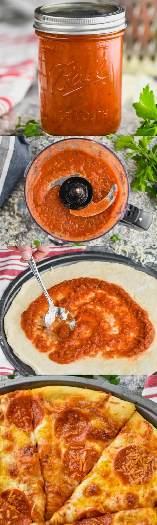 collage of photos of homemade pizza sauce