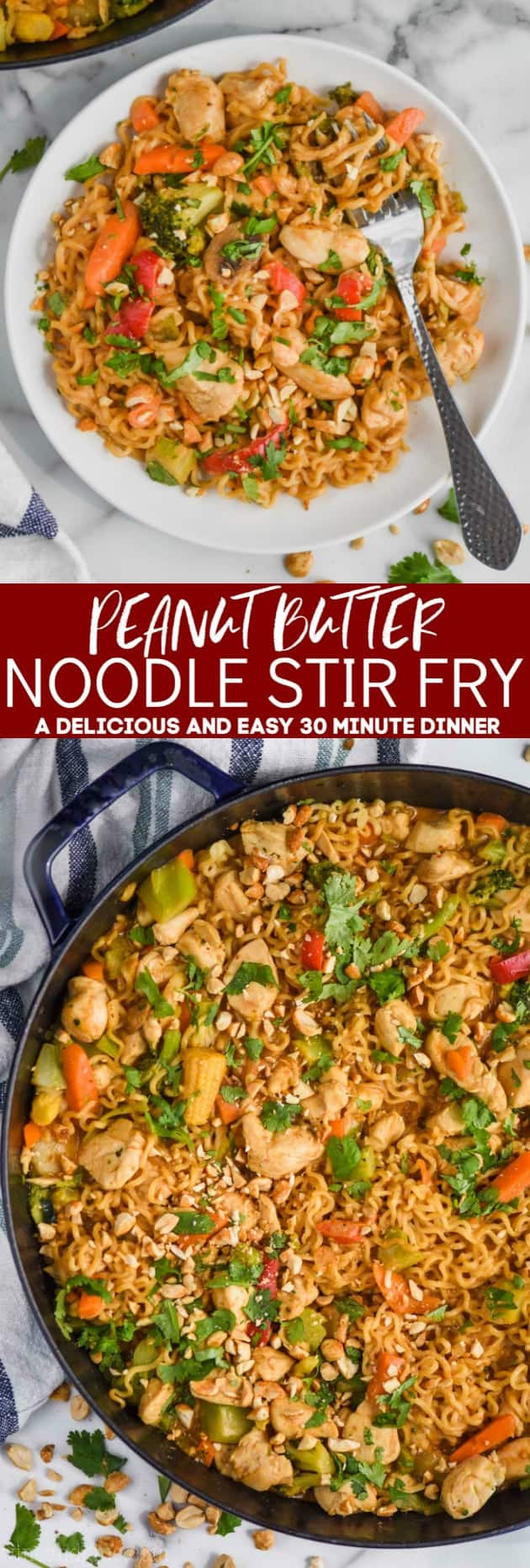 collage of peanut butter noodle stir fry