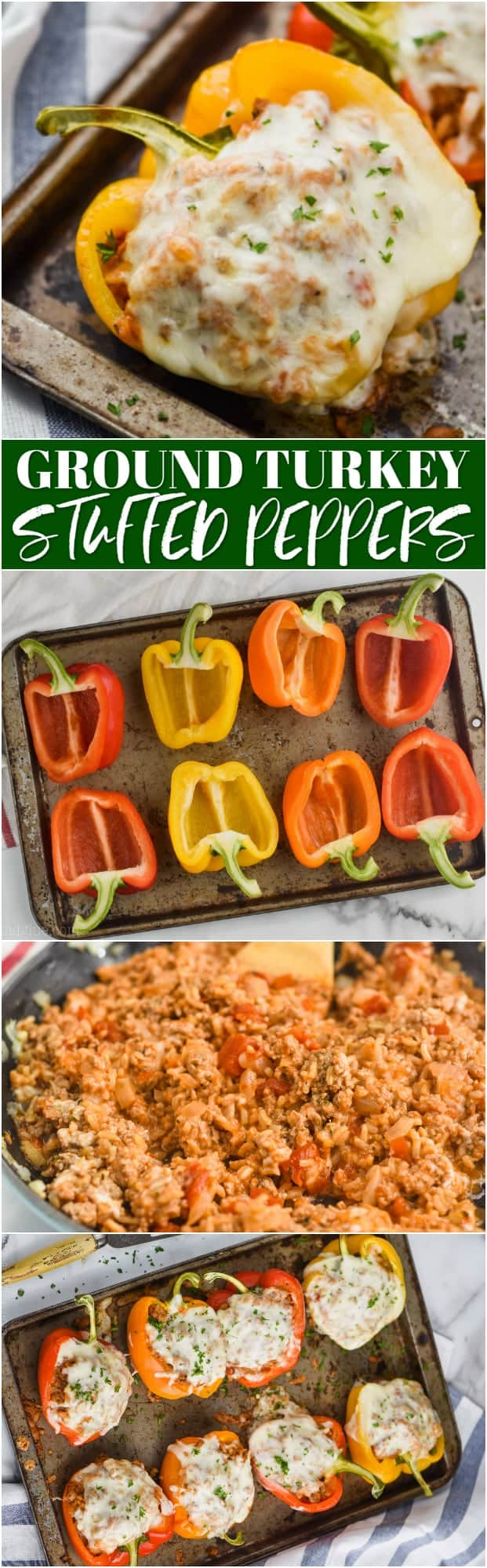 collage of how to make ground turkey stuffed peppers