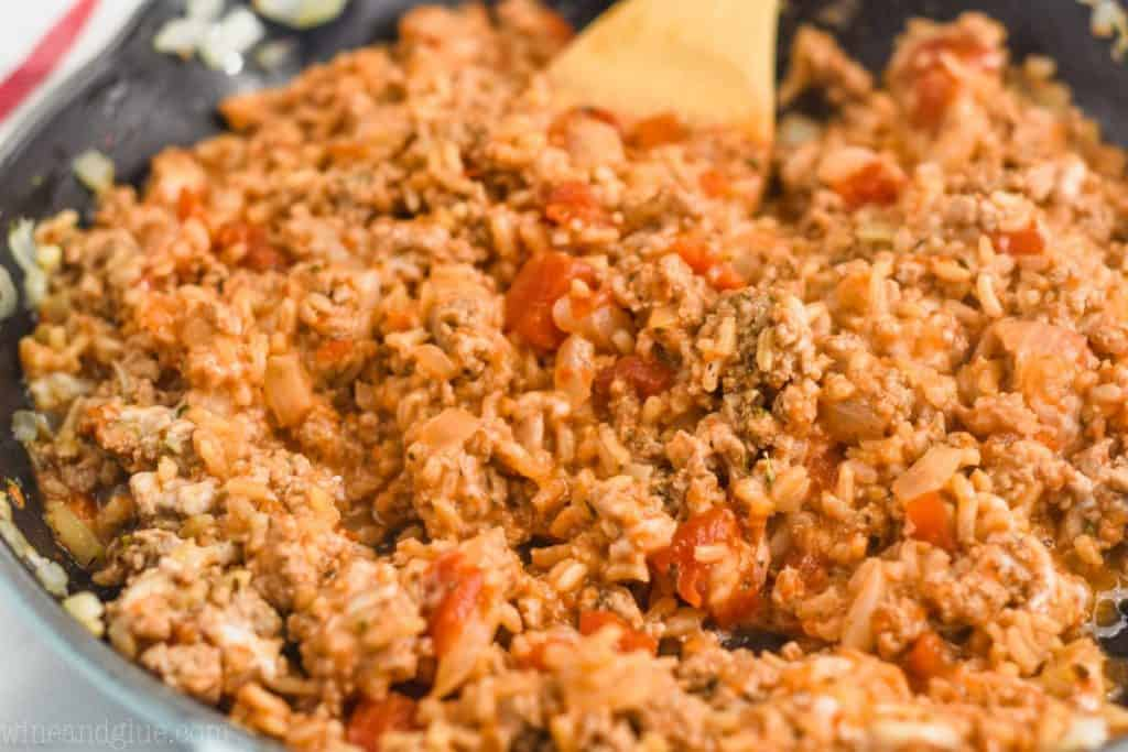 close up picture of ground turkey filling for stuffed bell peppers