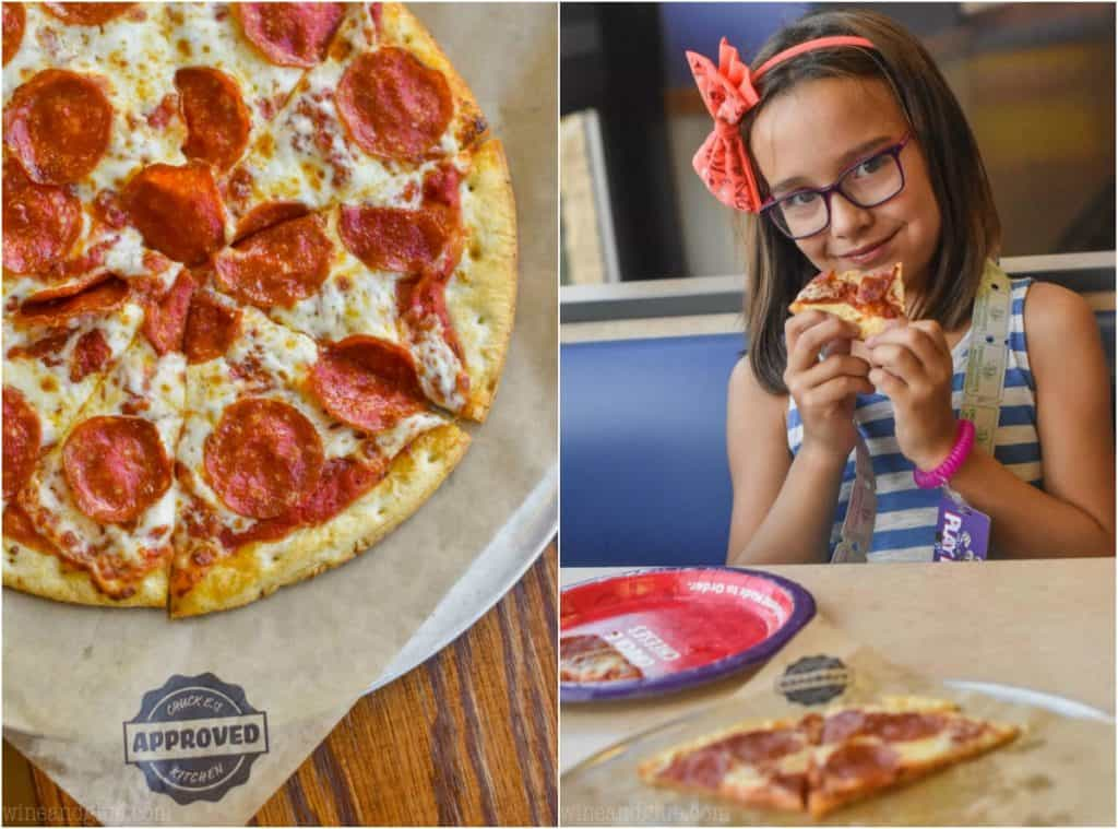 side by side photos of a cauliflower crusted pepperoni pizza and a little girl eating the pizza