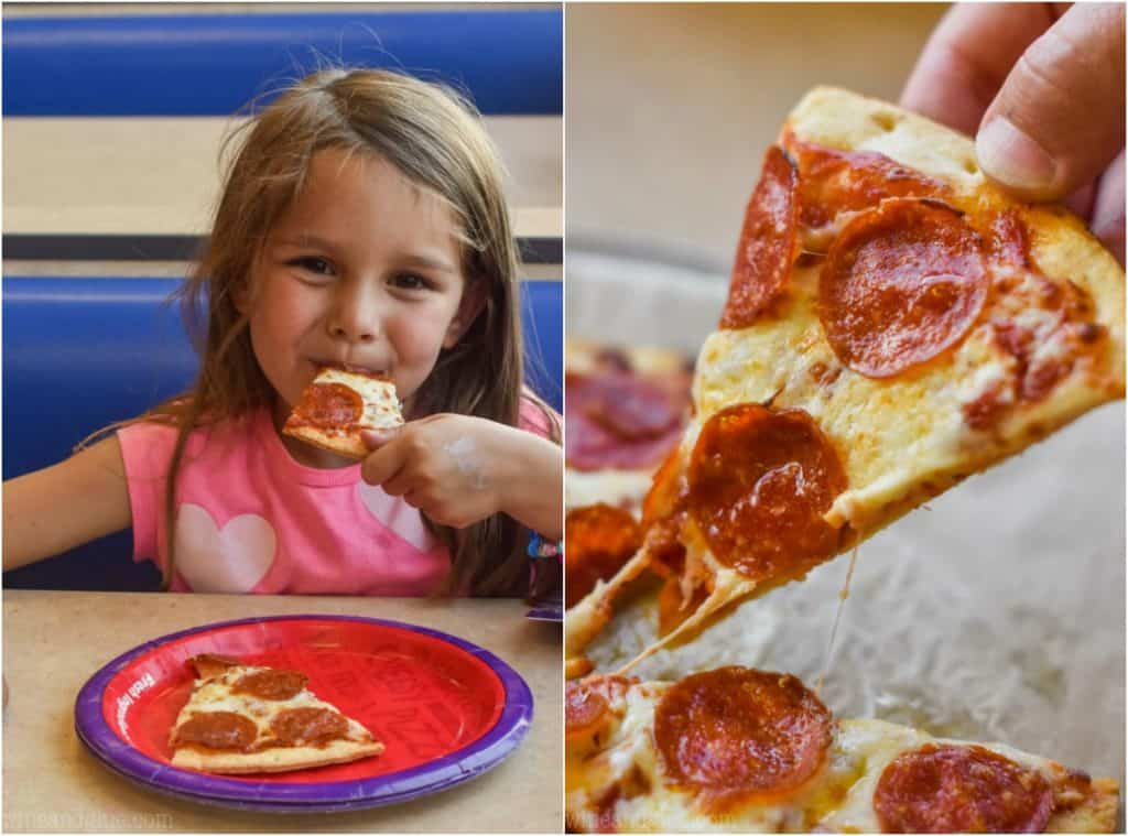 side by side photos of a little girl eating a slice of pizza on the left and a piece of pepperoni pizza being lifted up on the right