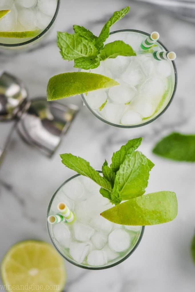 overhead view of two highball glasses filled with the best mojito recipe, ice, lime wedges, and fresh mint