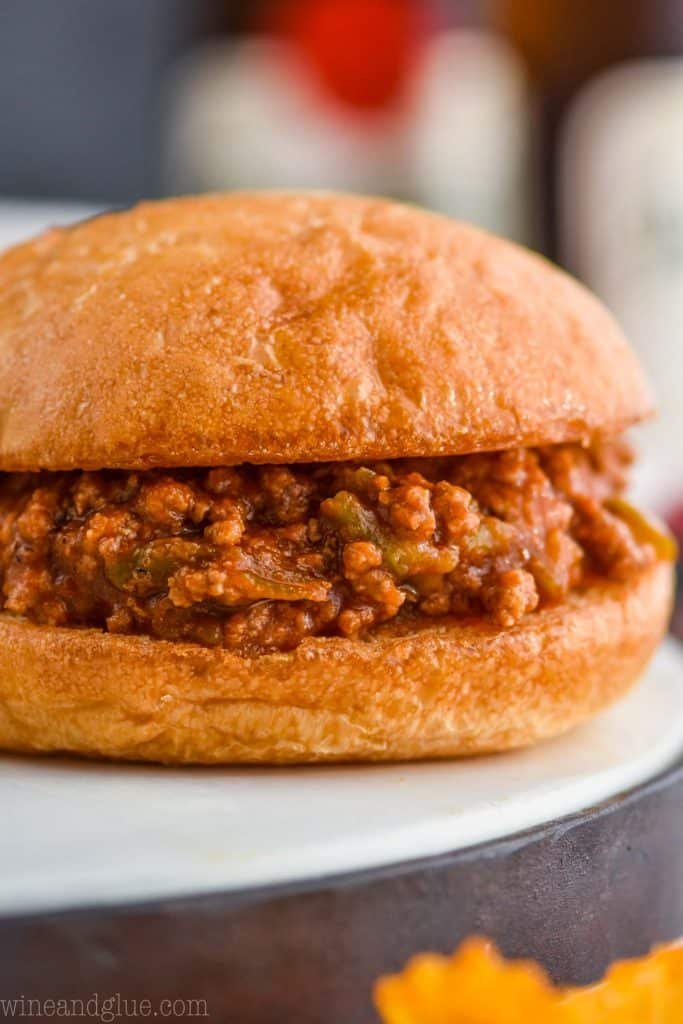 extreme close up of crock pot sloppy joe