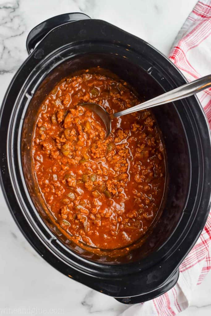 overhead view of sloppy joe mix in a crockpot