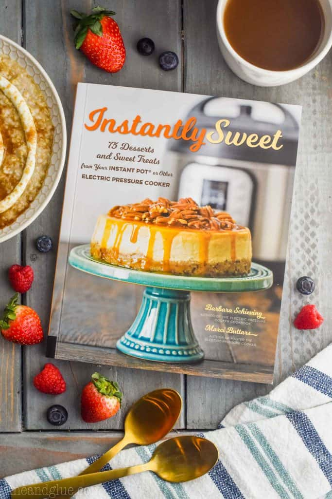 overhead view of the cookbook Instantly Sweet