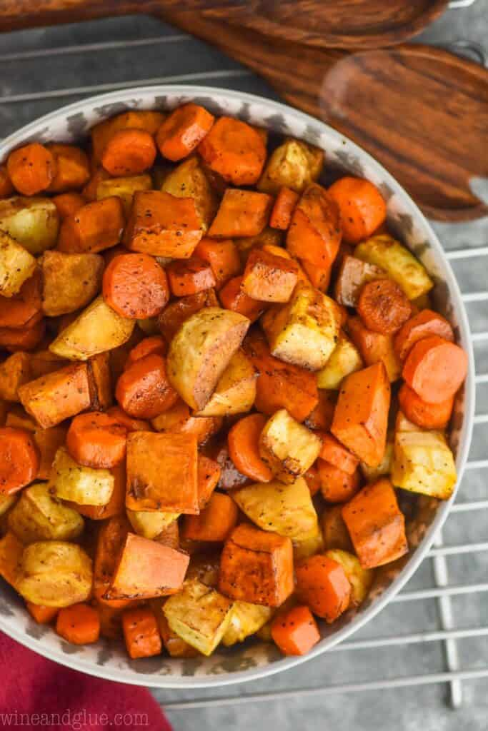 overhead view of a serving bowl full of roasted root vegetable recipe