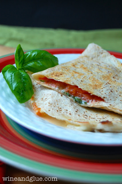 Caprese Quesadilla! A delicious and easy lunch that comes together quickly and only has five ingredients! via www.wineandglue.com