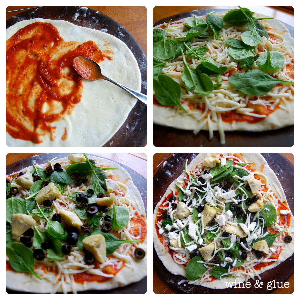 A collage of four photos that show how to assemble the pizza. A thin layer of the tomato sauce was placed then some cheese and then the spinach, artichoke, and olives. Lastly, the feta cheese and the rest of the cheese.
