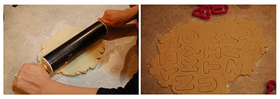 A collage of two photos which shows rolling the dough and then cutting the dough with the cookie cutters.
