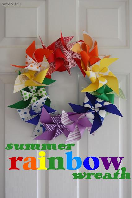 Summer Rainbow Wreath | A super easy to make rainbow wreath that will brighten up your door!