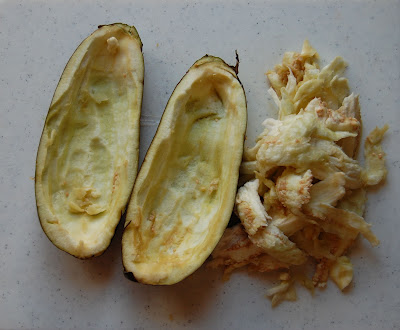 eggplant cooked with insides scraped out