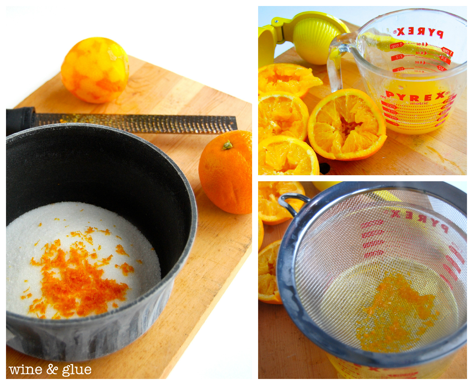 A collage of three photos. The first shows a pot with white sugar and orange zest. The top right corner shows a measuring cup with squeezed orange. The bottom right corner shows a strainer on top of the measuring cup. The strainer has wet orange zest in it.