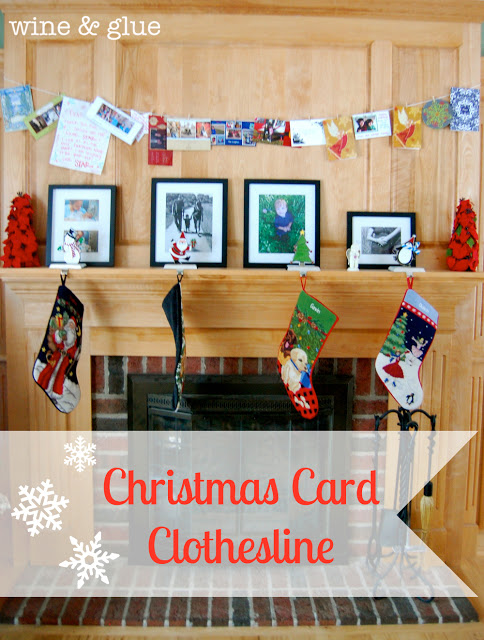 Christmas Card Clothesline | An easy and fun way to display your Christmas cards! via www.wineandglue.com