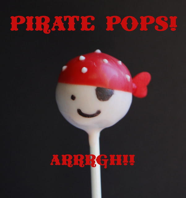 A Pirate Cake pop with a red and white dotted bandanna and an eye patch