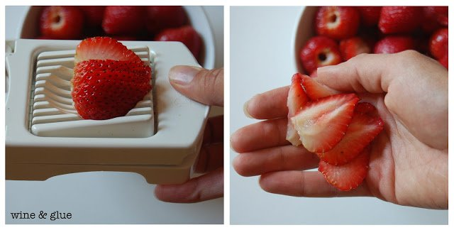 An easy way to slice strawberries